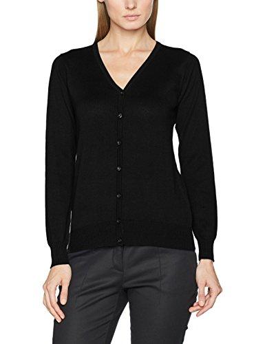Baumwolle V-neck Lightweight Sweater (Kustom Kit Damen Strickjacke Kk354, Schwarz (Black BLK), 2XL)