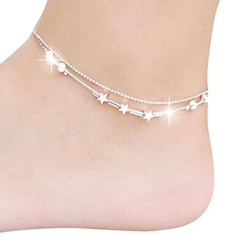DAY.LIN Schmuck Damen Fußkettchen Multi Layer Silber Crystal Ball Armband Fußkettchen Knöchel Fuß Kette Frauen Schmuck