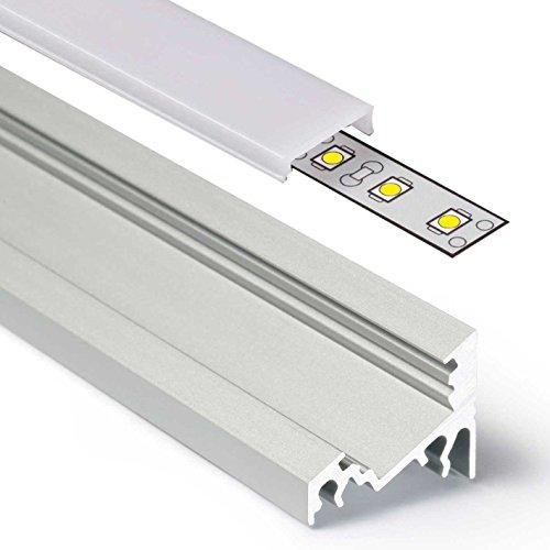 - Schienen-montage (2m Aluprofil CORNER (CO) Ecke 2 Meter Aluminium Profil-Leiste eloxiert für LED Streifen - Set inkl Abdeckung-Schiene milchig-weiß opal mit Montage-Klammern und Endkappen (2 Meter milchig click))