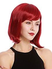 Idea Regalo - WIG ME UP ® - YZF-4366-M130M Parrucca Donna Corta Altezza spalle Bob Bob lungo Frangetta Liscia Rosso Rosso rubino