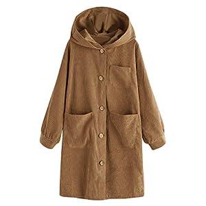 Oasics Damen Cardigan Shirt Jacket Große Lange Ärmel geknöpft lässige Kapuzenjacke Pocket S-2XL