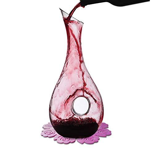 WOQO Wein Dekanter, 1.2L Rot Wein Karaffe, Kristallglas Weindekantierer, Wein Geschenke, Wein Zubehör, Mit Stilvoll Silikon Pad