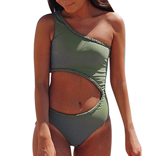 Beikoard Bademode Bikini Set, Sommerfrauen Solide Eine Schulter Einteiliger Bikini Bademode Badeanzug Beachwear Schwimmanzug Strandmode