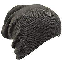Slouch Beanie Slouchy Hat Ski Hat Snowboard Hat Ribbed Beanie Dark Gray
