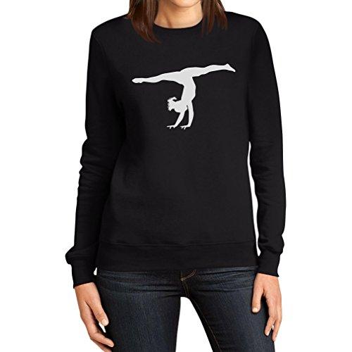 Damen Kunstturnerin Silhuette Fanartikel Geschenk Frauen Sweatshirt Small Schwarz