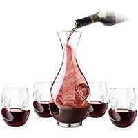 Final Touch Conundrum-Set regalo per vino rosso con ventilazione per il Decanter e bicchieri da vino vino rosso senza stelo