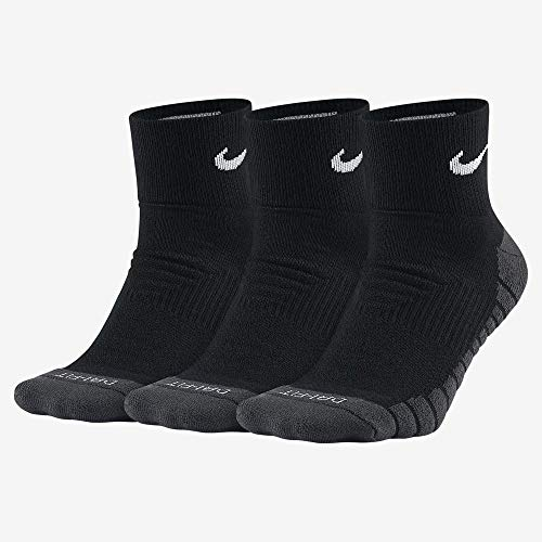 Dri-fit Quarter Socken (Nike - Dry Cushion Quarter 3 Paar Herren Trainingssocken- Gr. S (34-38 EU), schwarz - grau - weiß)