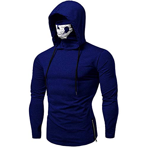 Xmiral Mens Pullover Maske Skull Pure Color Langarm-Kapuzenpulli Tops zum Karneval(L,C-Blau)