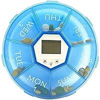 Preisvergleich für Wöchentlicher Pillen-Organizer-Pille Digitale 7Tage Pillen-Organizer mit Timer, LED-Wecker mit 4an Tabletten-Spender...