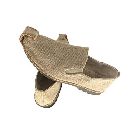 Calzado Hombres Retro Cuerda Estrecha punta Aire Color De Al Ropa Chino Sandalias Las De Beige Libre De Meijunter Plana IXwYxX