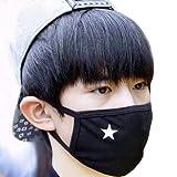Elandy Antistaub-Gesichtsmaske, Mundschutz, Unisex, Schwarz mit weißem Stern, aus Baumwolle, 2 Stück
