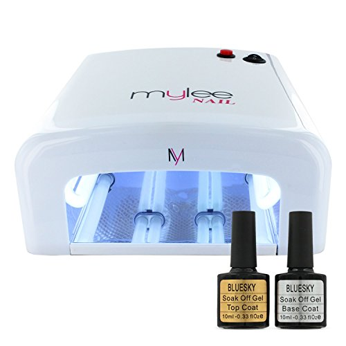 Gel Polish Nail Manicure Kit Original Bluesky Top Base Coat Mylee UV Lamp Dryer High Quality ABS Plastic and Faster Curing times White & Pink Lamps (Kit + White Lamp)