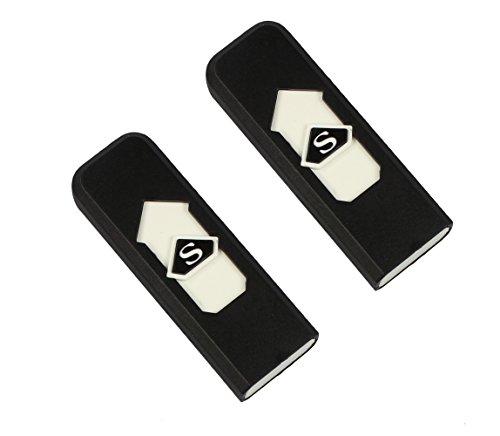 COM-FOUR 2x USB Feuerzeug, elektrisch, ohne Flamme, Zigaretten Sturm-Feuerzeug, wiederaufladbar (2er Set: 2x Schwarz)