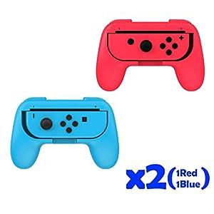 QUMOX Dobe Controller Joystick Handle Griff L + R Reisehalter Fall/Case Set – Rot/Blau Für Nintendo Switch Schalter Joy-Con