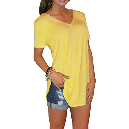 CuteRose Women's Relaxed Tees Top V-Neck Short-Sleeve Curved Hem T-Shirt Yellow S Big And Tall Cotton Belt