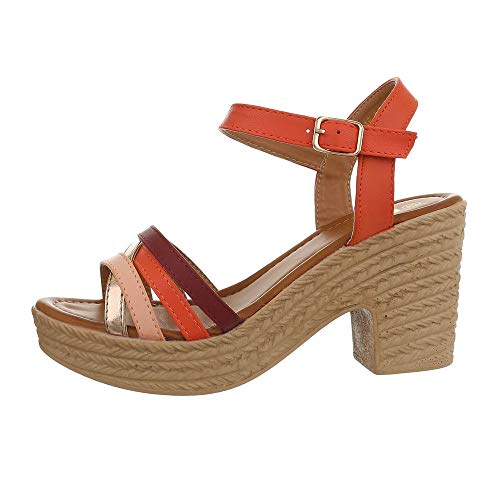 Ital-Design Damenschuhe Sandalen & Sandaletten High Heel Sandaletten Synthetik Orange Multi Gr. 40