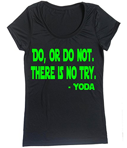 Lustige Tee-small Black T-shirt (Running On The Wall Performance Dry Sport-Shirt - Damen Laufshirt kurzärmlig - Do Not There is NO Try - YODA, Damen, Black-Lime, Small)