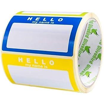 Namensschild Aufkleber Hello My Name Is Sortierte Farben