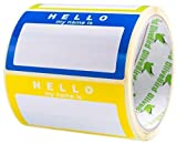 Name Tag Labels Hello My Name is Stickers Assorted Colours (3 Colours) School Office Stickers, Size 90x50 mm, 1 Roll/250 Sticker