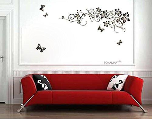 Preisvergleich Produktbild BONAMART ® Blumen Weinstock Schmetterling Wandtattoo Kinderzimmer Schlafzimmer Wohnzimmer AY954