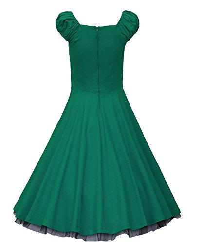 Smile YKK Femme Rétro Robe Princesse Sans Bretelles Moulante Elégante Vert
