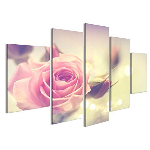 islandburner Bild Bilder auf Leinwand Schöne rosa Rose. Vintage-Stil Kartenentwurf Wandbild, Poster, Leinwandbild JNI - Rosen Rosa Bild