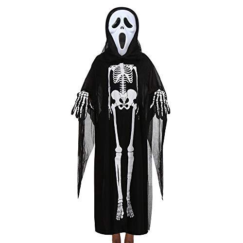 MERICAL Kinder Halloween Maske Cosplay Kostüm Umhang + Maske + Handschuhe Outfits Set(Freie Größe,Schwarz-A)