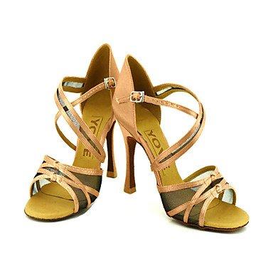 Silence @ pour femme Chaussures de danse latine/salle de bal en satin Talon Noir amande