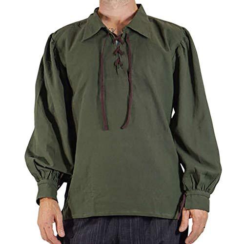 Mittelalterliches Herren Schnür Revers Retro-Shirt Mantel Kostüm Cosplay Uniform Für Männer Armee-Grün 2XL