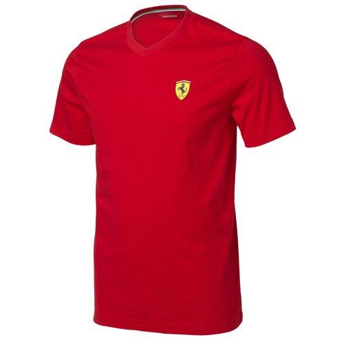 ferrari-santander-tee-t-shirt-a-col-en-v-pour-homme-m-rouge-rouge