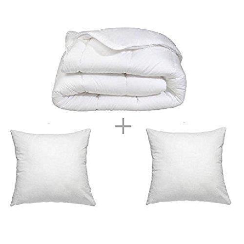 Couette blanche 450GR/M² 'FABRICATION FRANCAISE' (2 places) 220 x 240 + 2 Oreillers 60 x 60 cm