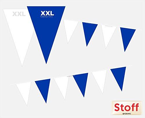Wimpelkette XXL Blau-Weiß Stoff 10m Länge 28-Großwimpel. Weißblaue Wimpelgirlande zum Dekorieren in Außenbereichen und Innenbereichen. Dekorative wetterfeste Hängedekoration.