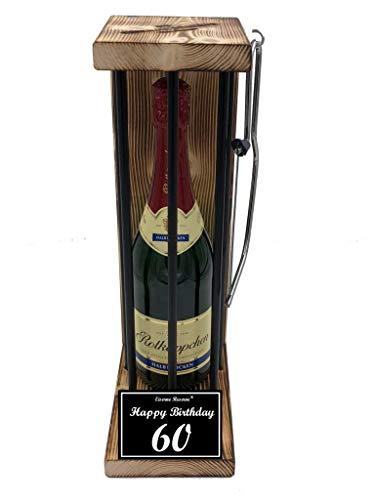 (Happy Birthday 60 Geburtstag - Die Eiserne Reserve ® Black Edition mit Rotkäppchen Sekt 0,75L incl. Säge zum zersägen der Stäbe - Die lustige Geschenkidee)