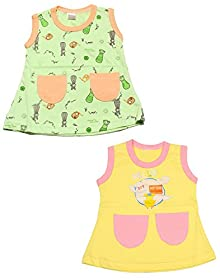 0cced1066 Babeezworld Regular Daily Wear Summer Baby Girl Cotton Half Sleeves Cut  Sleeve Sleeveless Vest Jhabla A