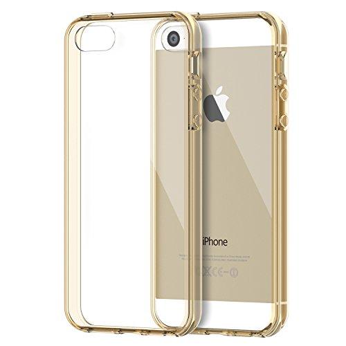 iPhone SE Hülle, JETech Apple iPhone SE 5 5s Schutzhülle Shockproof und Kratzschutz Transparente Rückseite für iPhone 5 5s SE (Gold) - 0428
