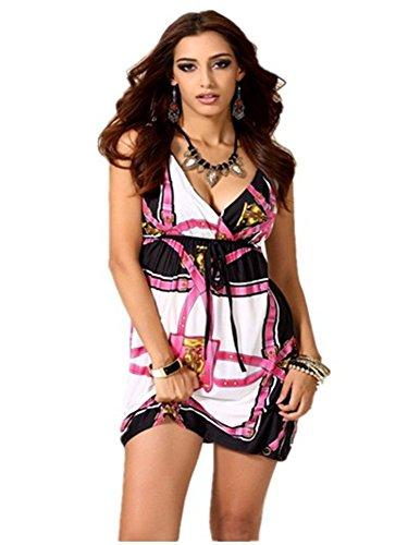 BOMOVO Damen WeißeKleider Stitching Spitzenkleider Ärmellos Ballkleid Cocktailkleid Partykleid Violett