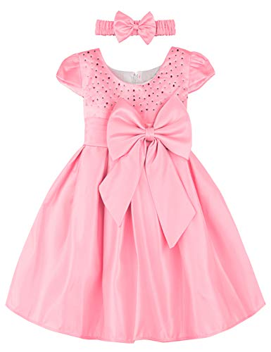 A&J Design Baby Mädchen Prinzessin Kleid Festlich Hochzeit Partykleid mit Stirnband (Rosa, 12-18 Monate) -