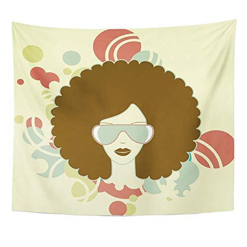 Stoff Drucken Home Decor Musik Afro Frau Seele Haar 1970er Jahre Funk Disco Wandbehang Tapisserie für Wohnzimmer Schlafzimmer Wohnheim ()
