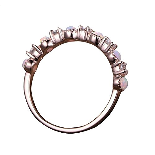 Sunsline Fabelhafte Frauen 14K Rose Gold Ring Hohe Qualität Runden Schnitt Diamant Schmuck Opal Ringe Vorschlag Geschenk (6) (Rose Gold-diamant-opal-ring)