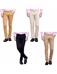 [Sponsored]Nimegh Cream, Black, Wine And Beige Color Cotton Casual Slim Fit Trouser For Men's (Pack Of 4)