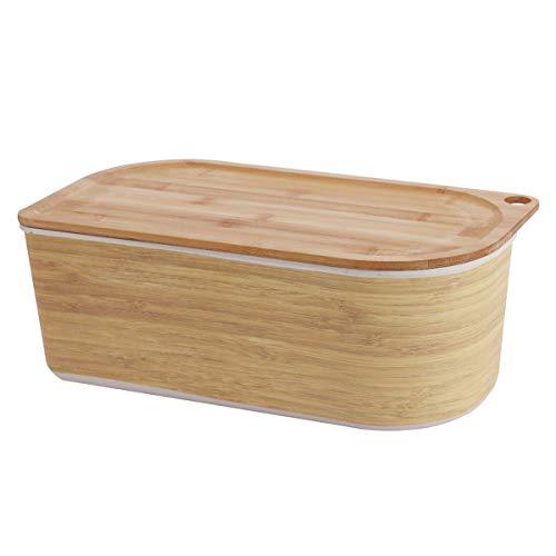 Brotkasten mit Deckel, Bambusbox, 35 x 20,5 x 13 cm Bambus