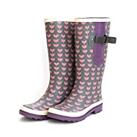 Extra Wide Calf Wellies for Ladies/Women - Fit up to 52cm Calf - Wide to The Calf snug to The Foot and Ankle Stunning Grey with Scandi Leaf Design