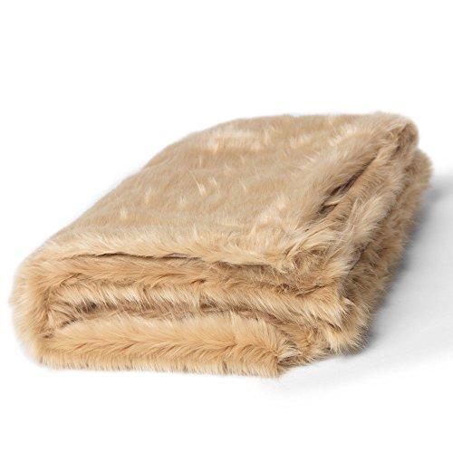 Couverture en Fausse Fourrure luxueuse de ICON - CHAMPAGNE 150cm x 200cm - Couvertures douces de luxe grande taille pour un couvre de salon ou Couvre-lit décoratif pour chambre à coucher en Beige