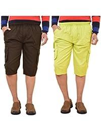 British Terminal Classic Cotton Three Fourth Comfortable Fit Cotton Knee Length Capri For Men / 3/4th Capri Combo...