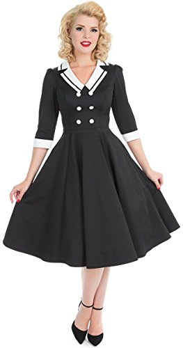 Hearts & Roses Damen Kleid Wednesday Matrosen Swing Dress Schwarz S