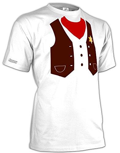 Sheriff KOSTÜM - Herren - T-Shirt in Weiss by Jayess Gr. L