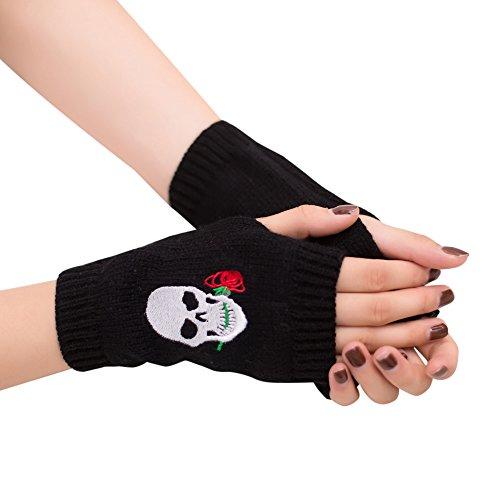 Webla Women Girl Skull Embroidery Wool Knitted Wrist Warmer Fingerless Winter Soft Warm Gloves Mitten