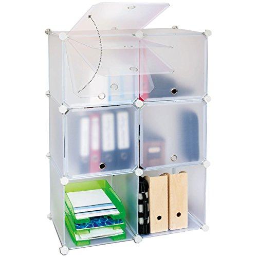 Steckregalsystem mit Türen aus 6 Boxen, Steckregal 6 Boxen, Aufbewahrung Regalsystem für Home und Office