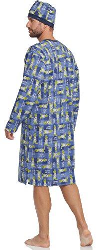 Cornette Herren Nachthemd mit Schlafmütze 110V2015 Blau(Vogel)