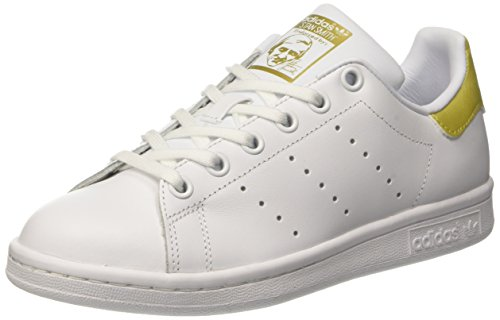 adidas Stan Smith, Baskets Basses Mixte Enfant, Blanc (Footwear White/Footwear White/Gold Metallic), 38 EU
